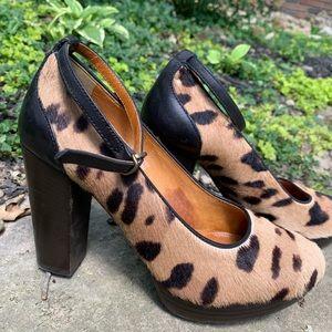 Madewell Calf Hair Platform Heels w/Ankle Strap